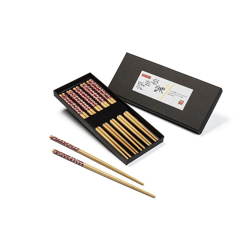 Palillos Chinos de Bambú decorados en rojo